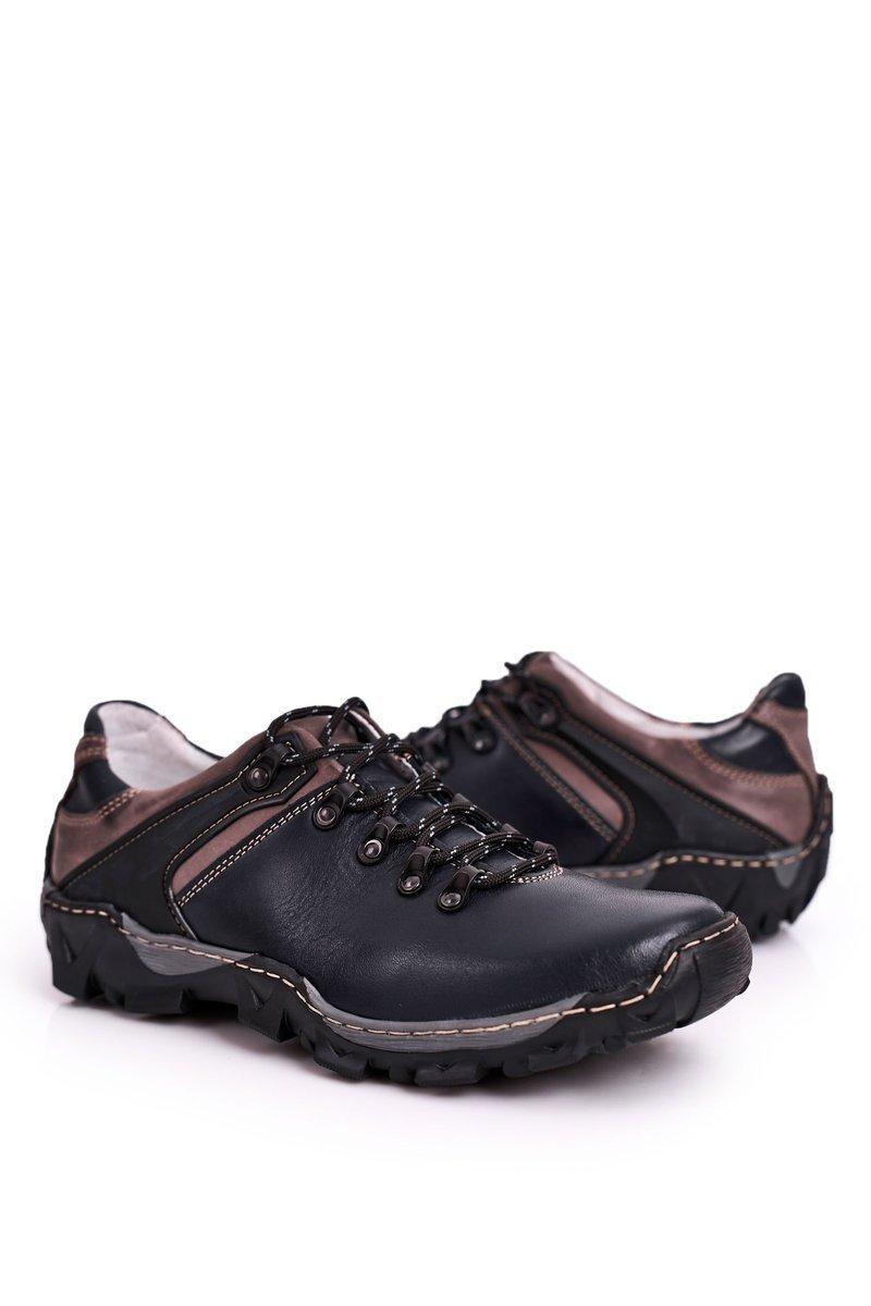 Men's Leather Trekking Shoes BEDNAREK Navy