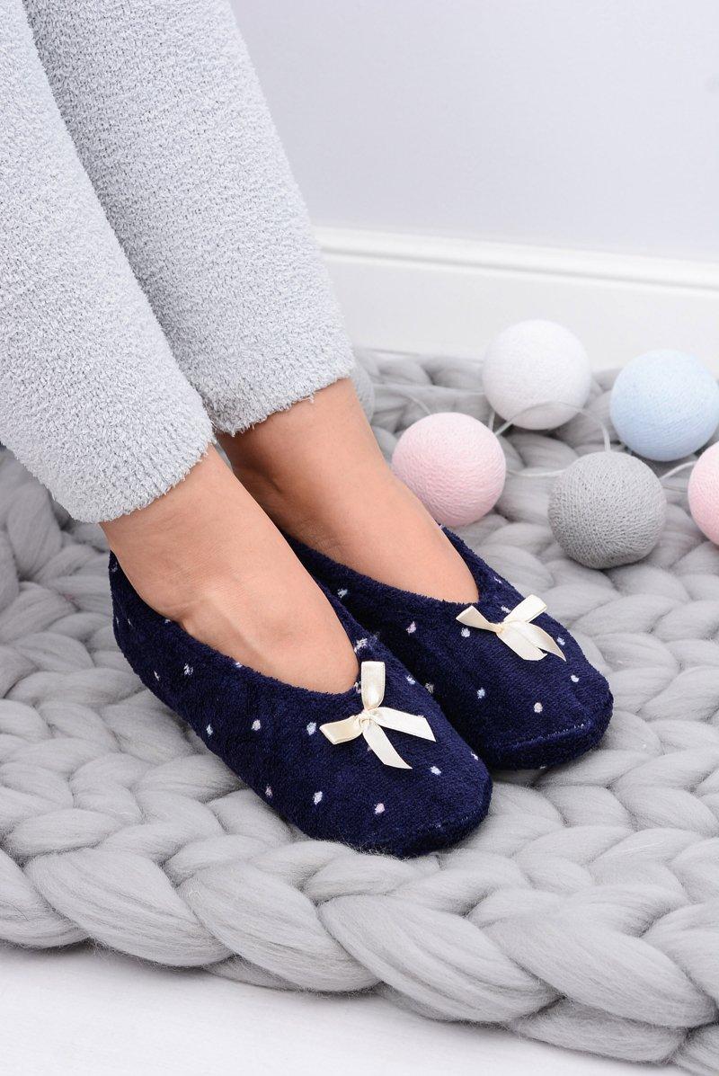 Ballerina Women Navy Slippers In Dots SOXO