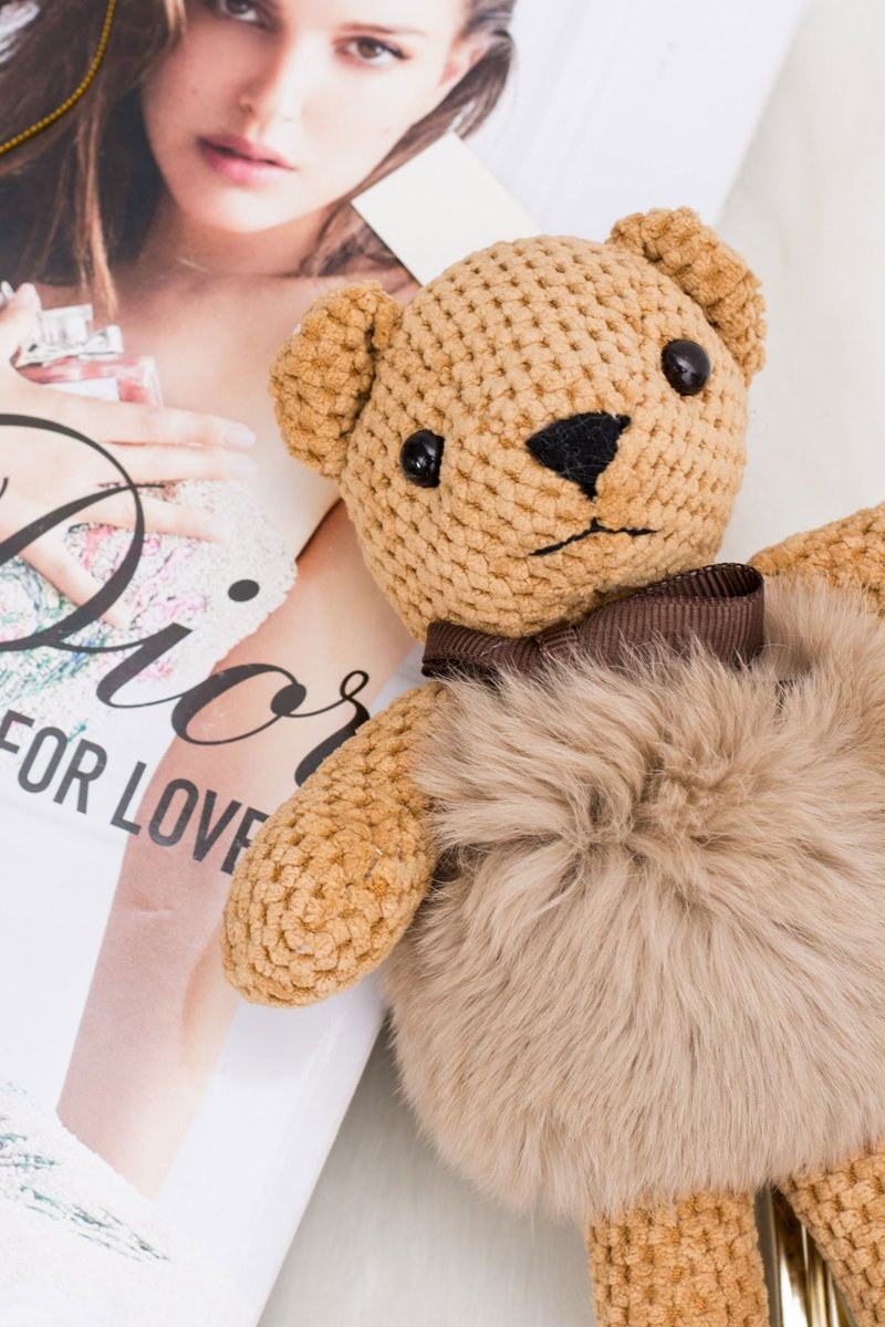 Big Teddy Bear Maciek with Fur Pendant Keychain for Purse