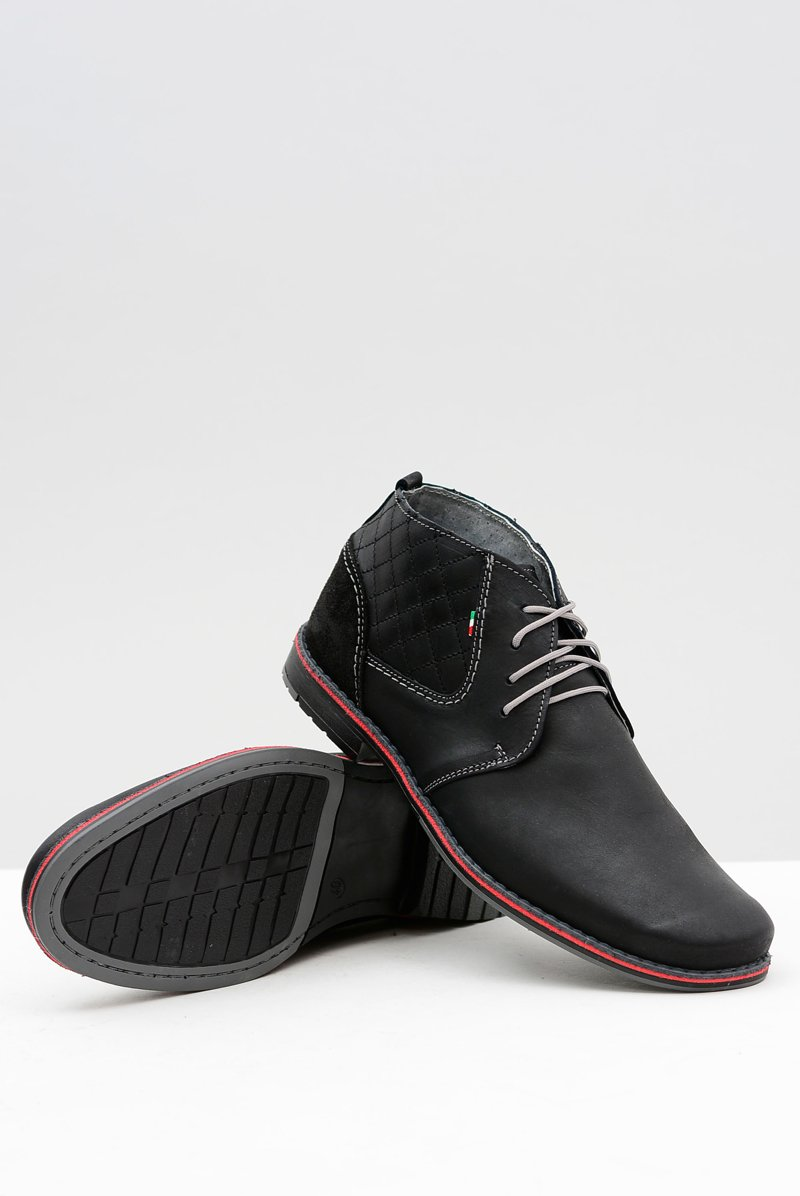 Black Leather Men Brogues Graziano