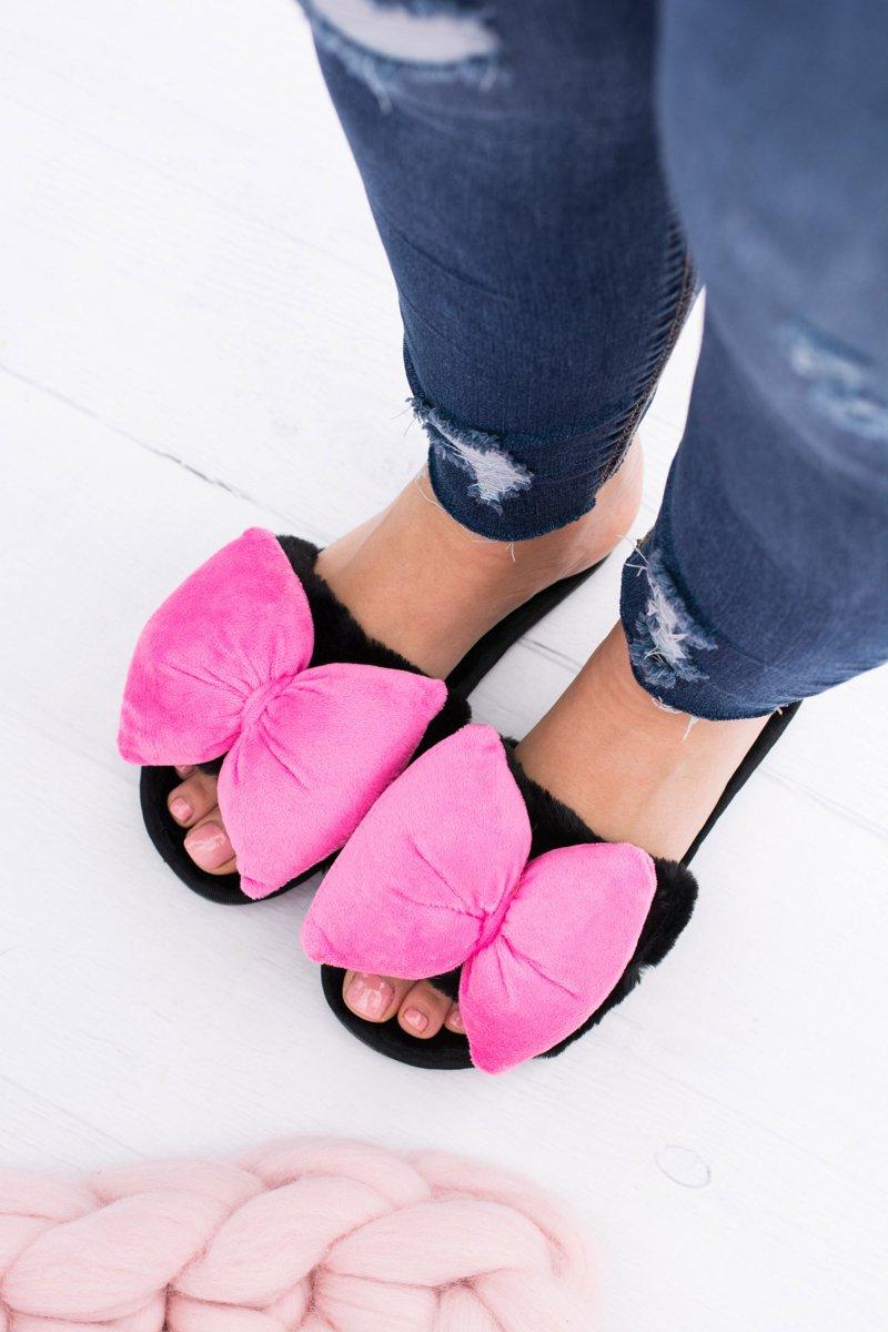 Black Women Flip-flops Lu Boo Big Pink Bows Floppy