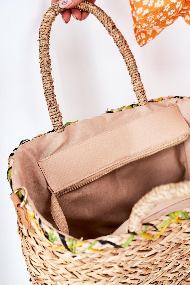 Braided Beach Bag NOBO XK0440 Beige