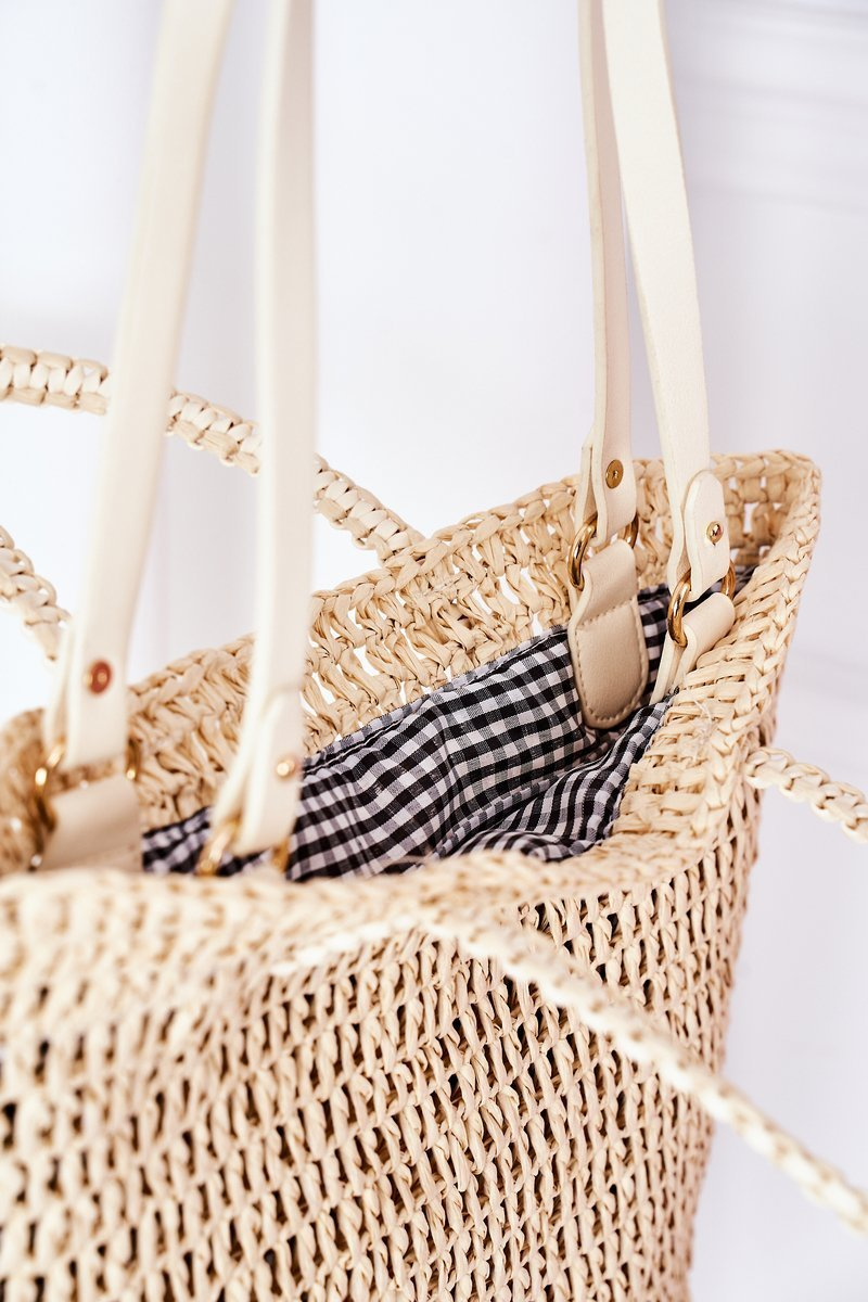Braided Shopper Bag BRUNO ROSSI Beige