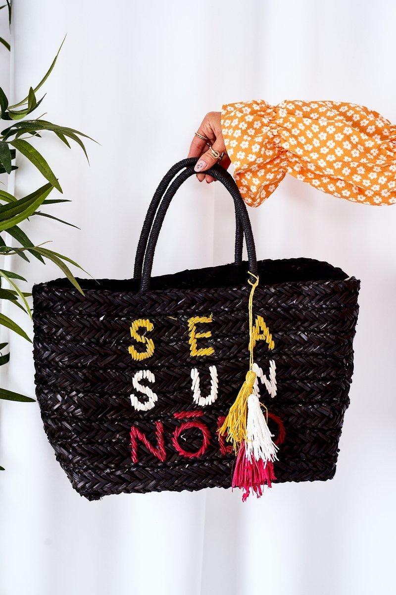 Braided Shopper Beach Bag NOBO XK00410 Black