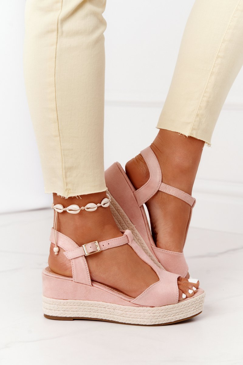 Braided Wedge Sandals Pink Graciosa