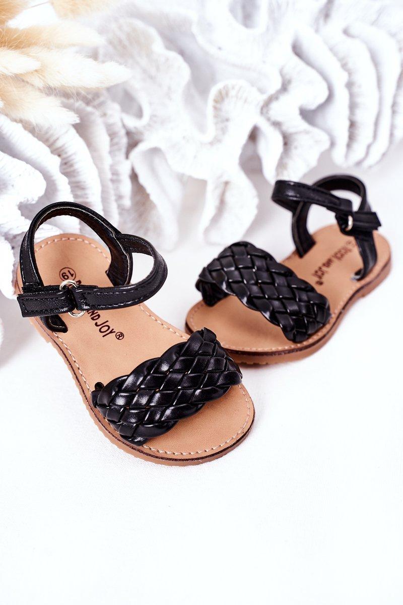 Children's Braided Sandals Black Bailly