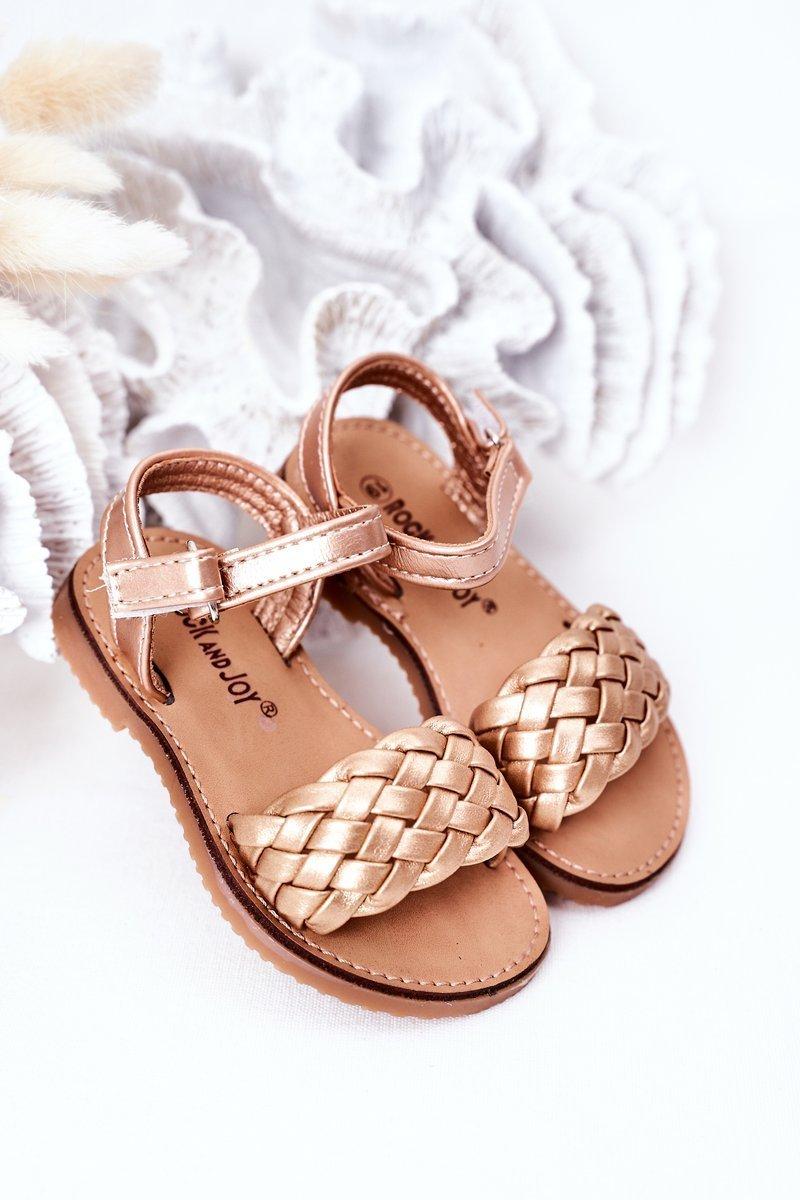 Children's Braided Sandals Rose Gold Bailly