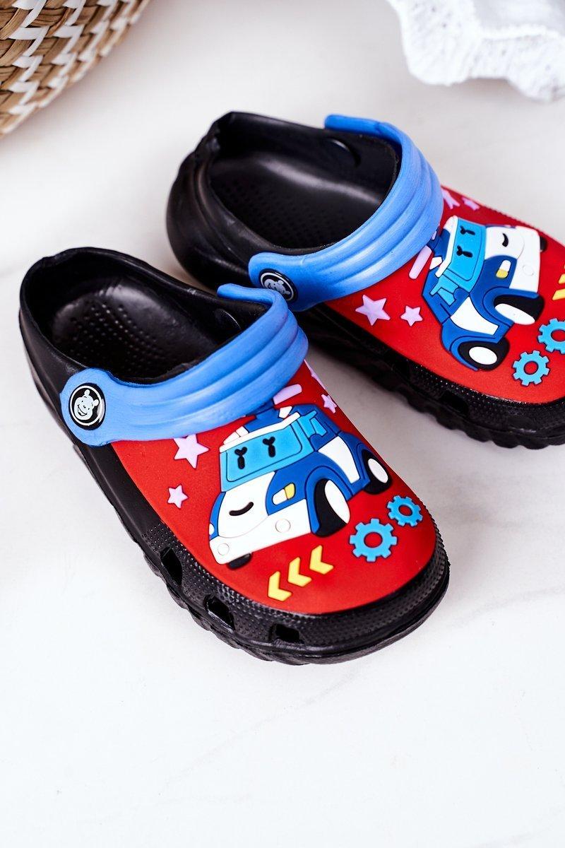 Children's Foam Slippers With A Car Black