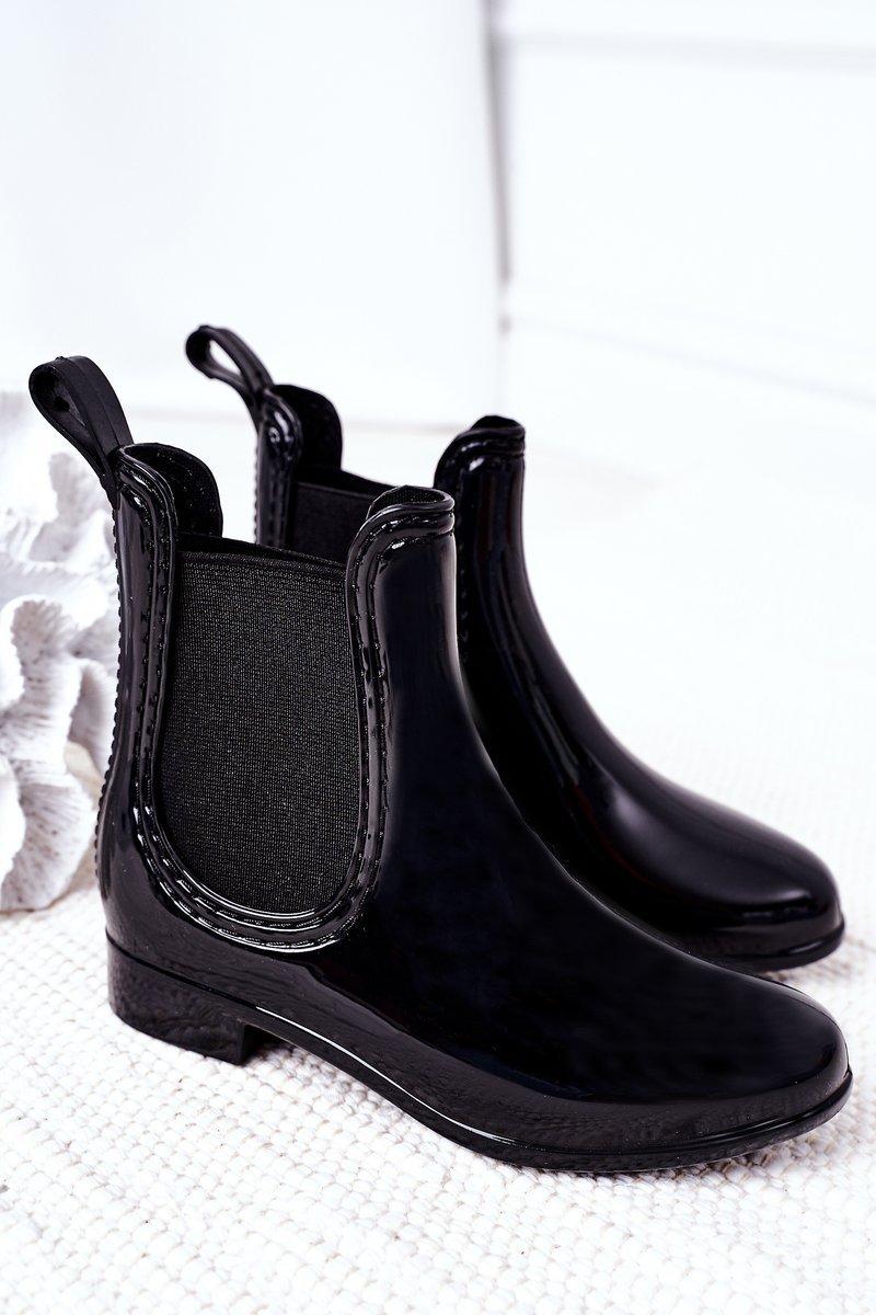 Children's Galoshes Rain Boots Black Lily