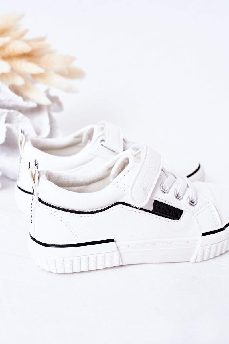 Children's Leather Sneakers With Velcro BIG STAR HH374028 White