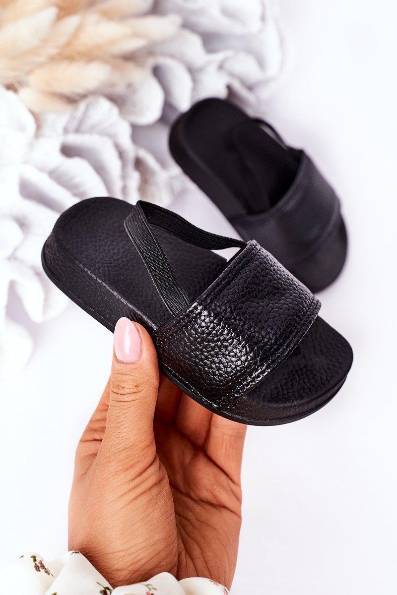 Children's Rubber Slippers Black Swimmer