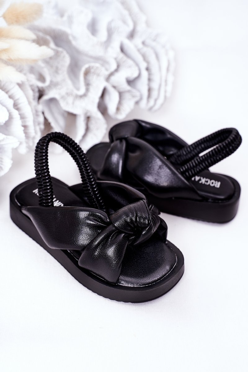 Children's Sandals With Drawstring Black Bubble Gum