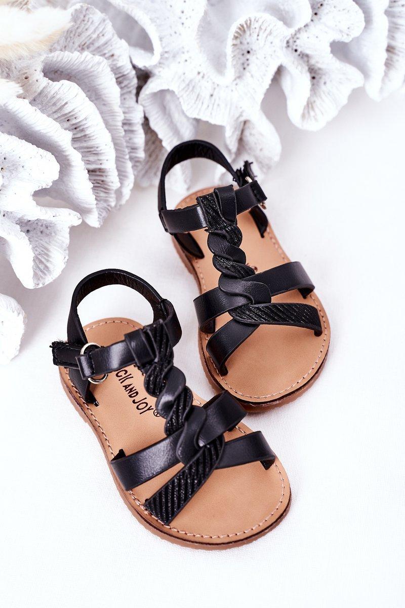 Children's Sandals With Glitter Black Batilda