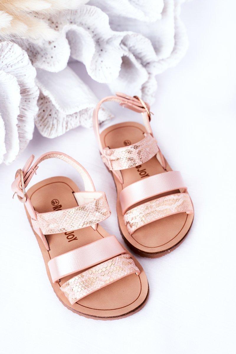 Children's Shiny Sandals Snake Pattern Pink Natalie