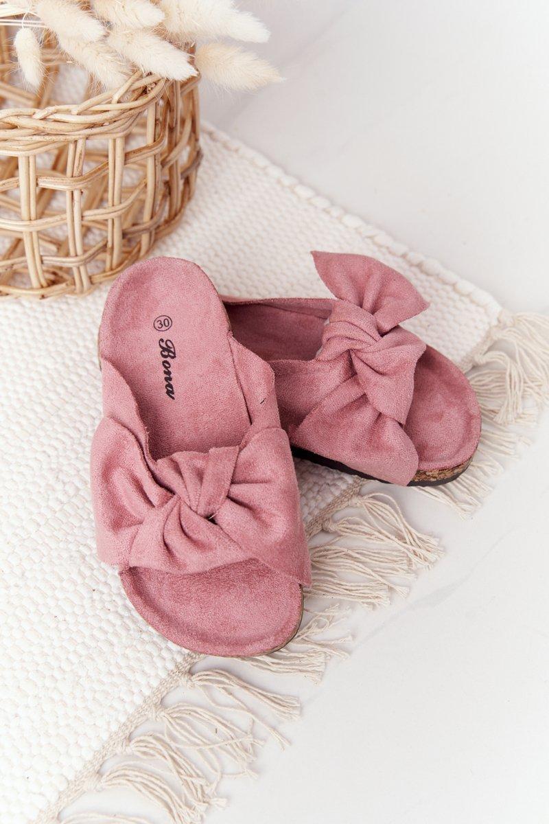 Children's Slippers On Cork Powder Pink Little Wendy