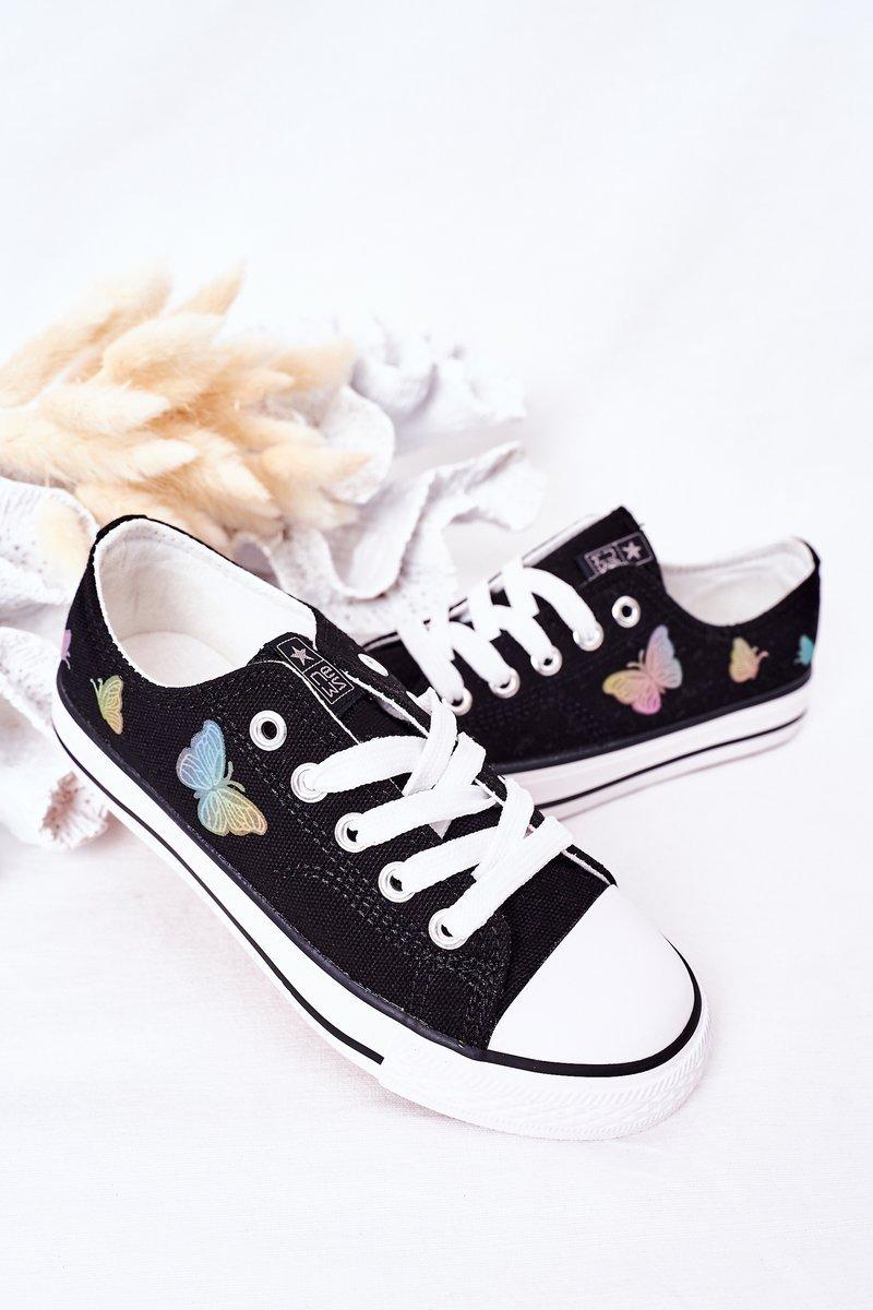 Children's Sneakers With Butterflies Black Fairytale