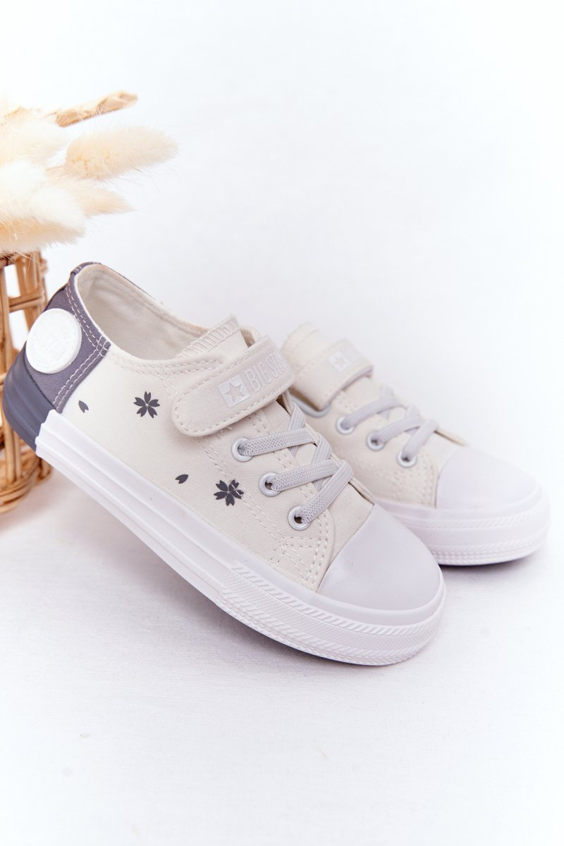 Children's Sneakers With Velcro BIG STAR HH374052 White-Gray