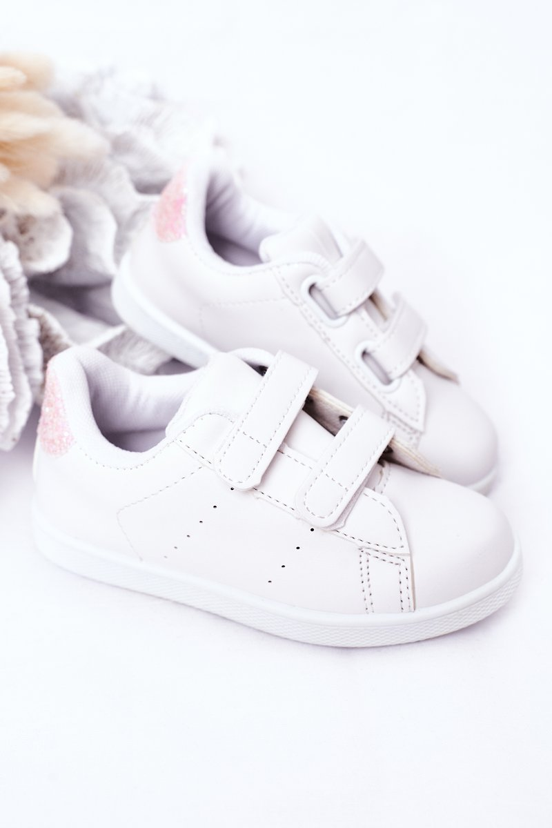 Children's Sneakers With Velcro White-Pink Cute Girl