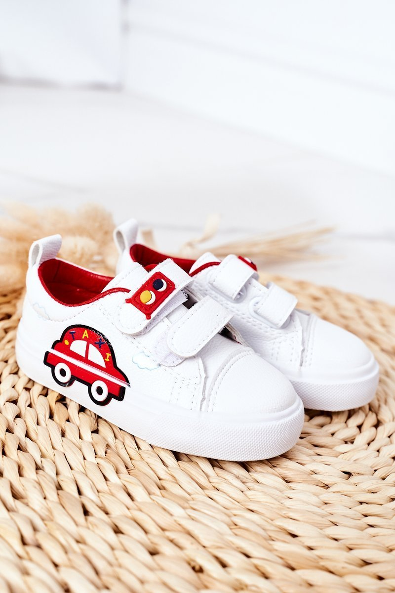 Children's Sneakers With Velcro White-Red Taxi