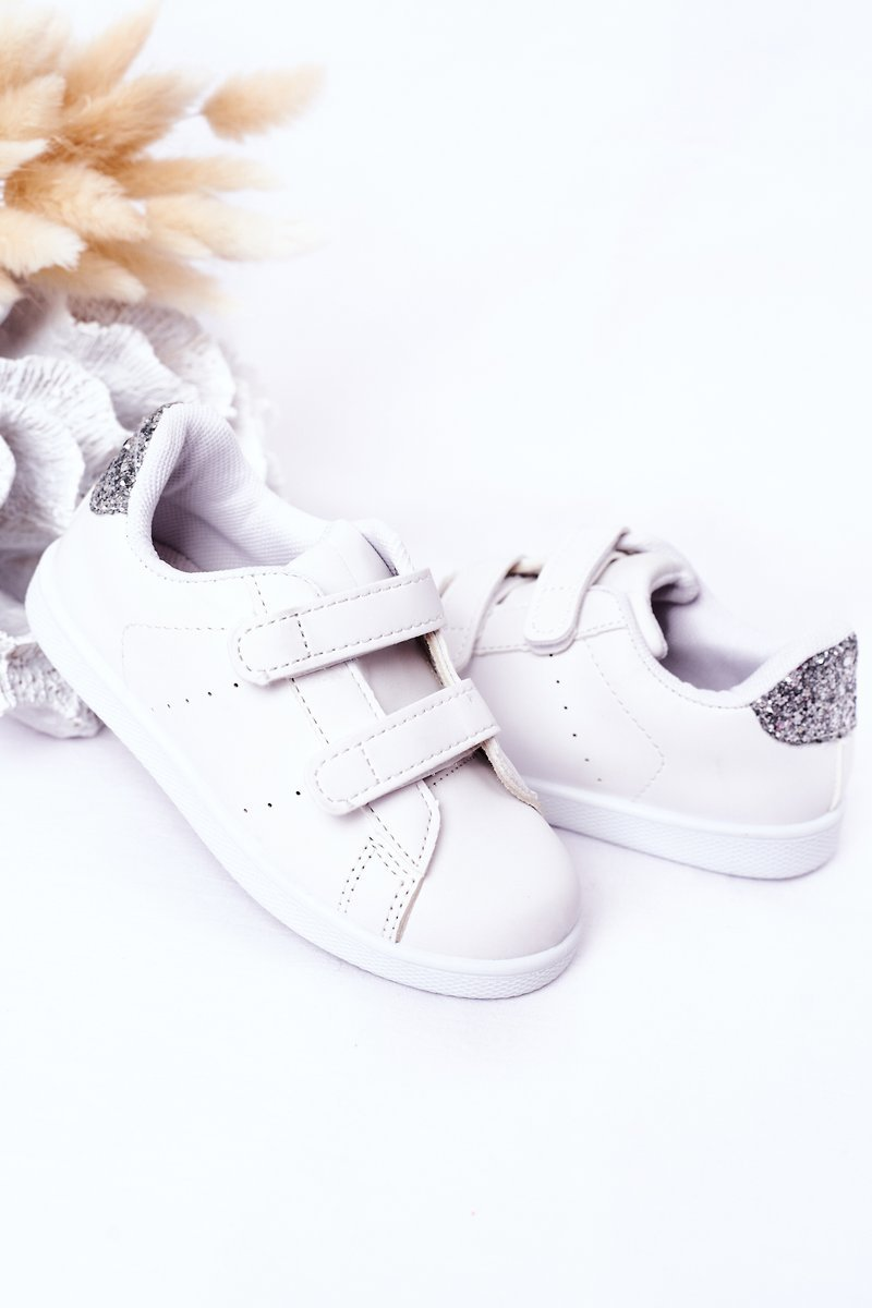 Children's Sneakers With Velcro White-Silver Cute Girl