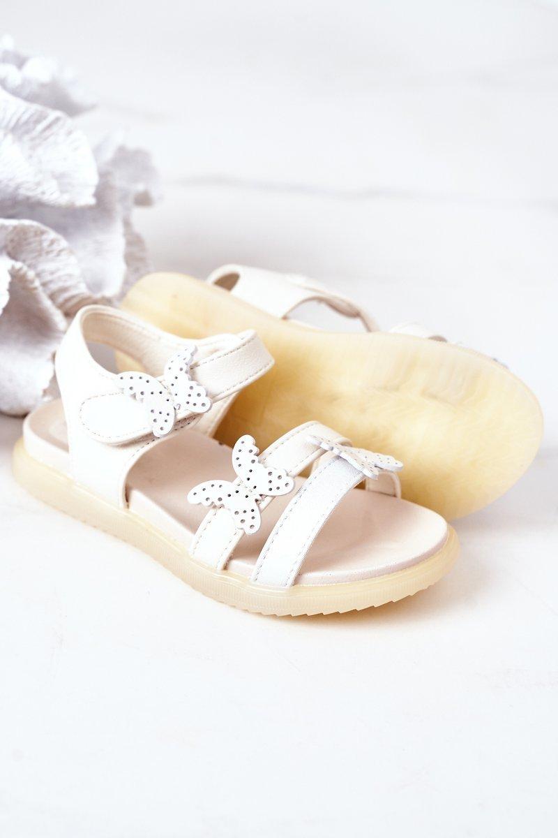 Children's Velcro Sandals With Butterflies White Malvika