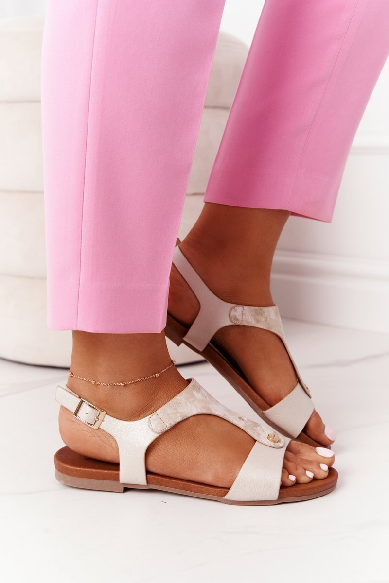 Classic Leather Sandals S.Barski 541-8 Golden