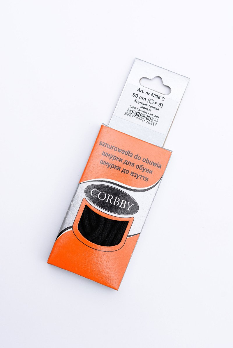 Corbby Black Thin Round Shoelaces