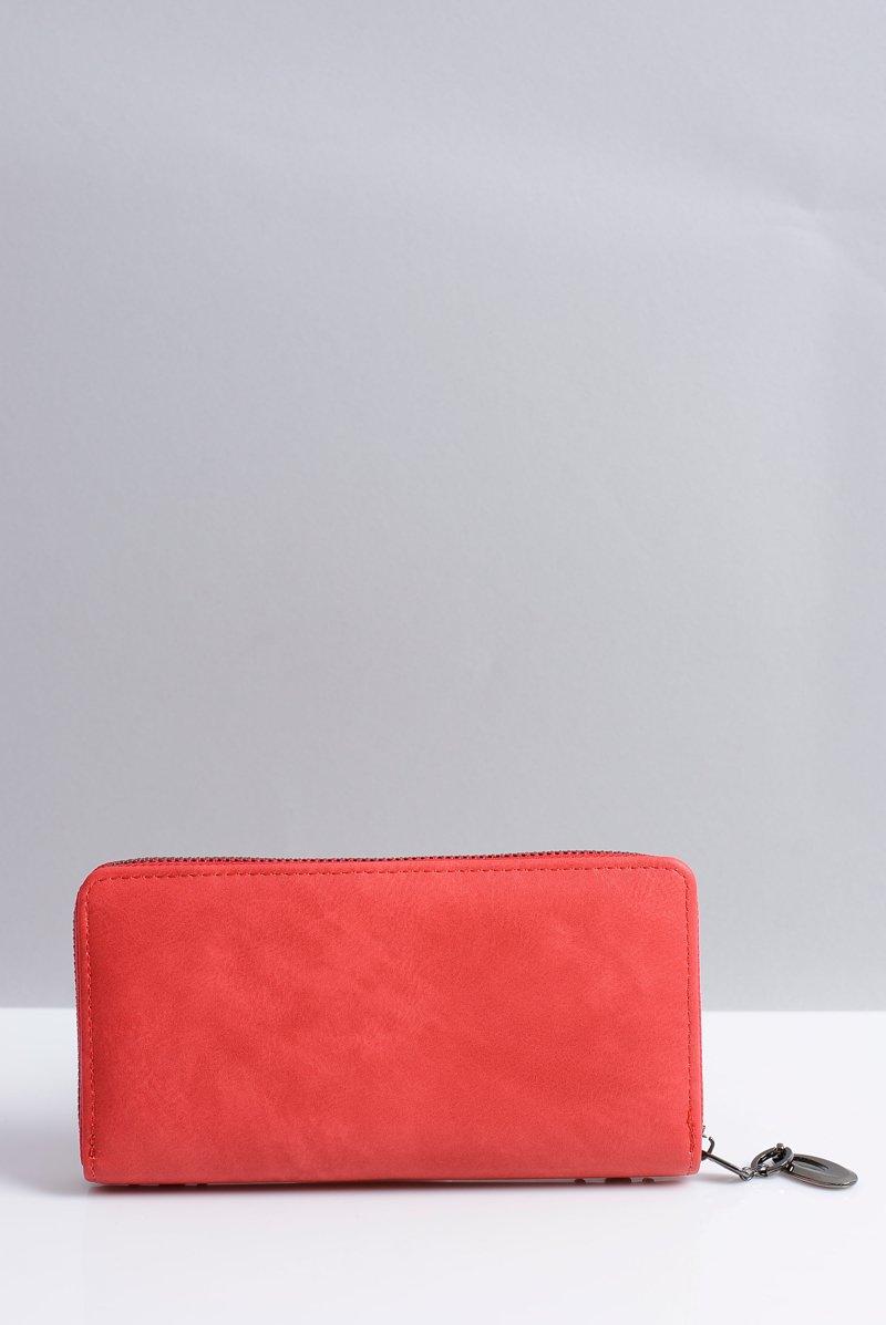 Duży Damski Czerwony Portfel z Ćwiekami
