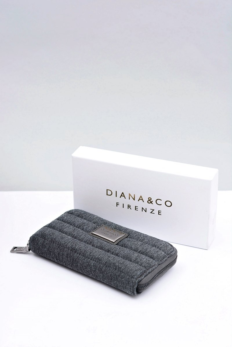 Duży Szary Damski Portfel DIANA&CO