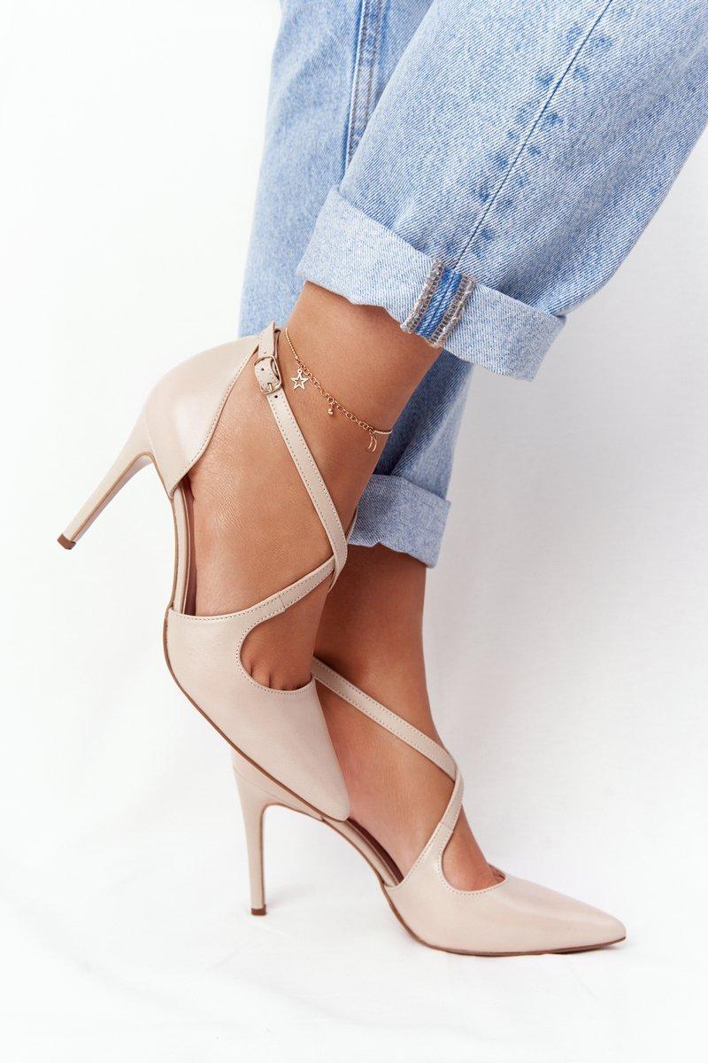 Elegant Leather Pointed High Heels Visconi 7400 Beige