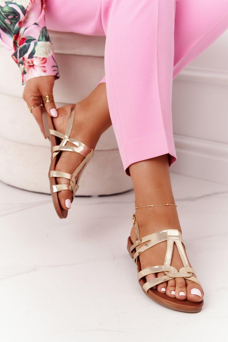 Elegant Leather Sandals S.Barski 541-A Golden