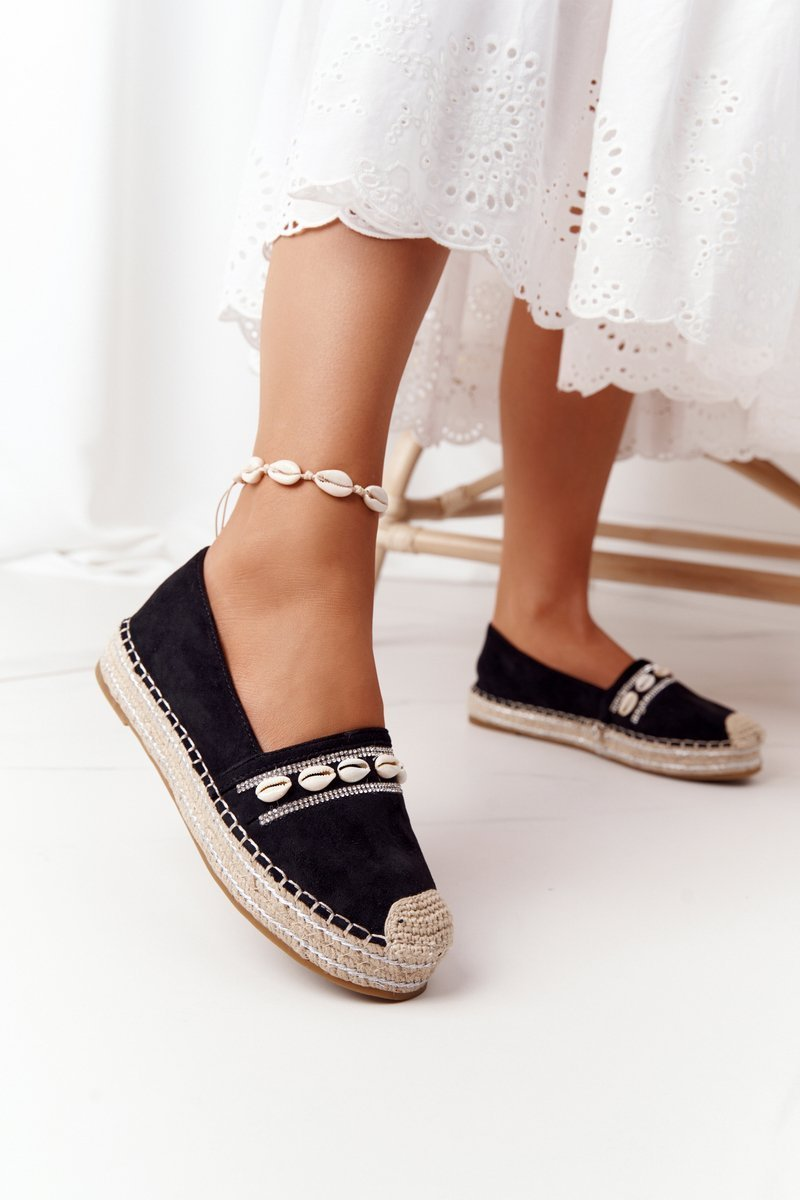 Espadrilles On A Platform With Shells Black Seashell
