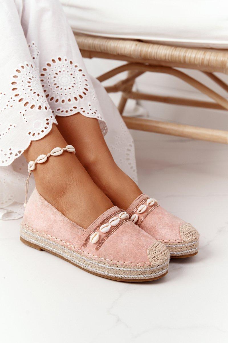 Espadrilles On A Platform With Shells Pink Seashell
