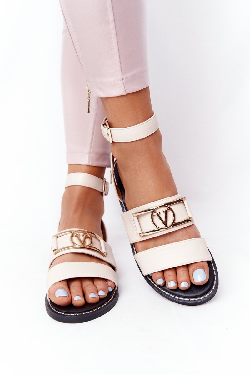 Flat Leather Sandals Beige On Time