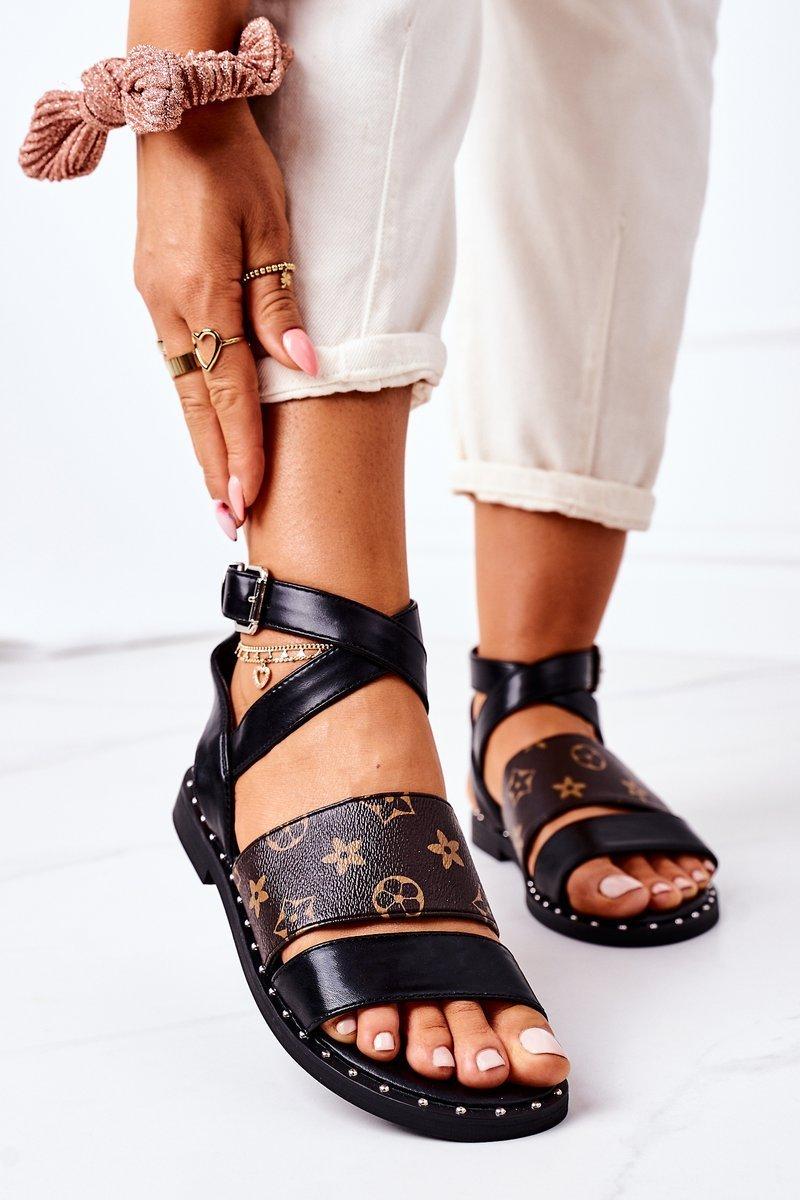Flat Leather Sandals Black Loretta