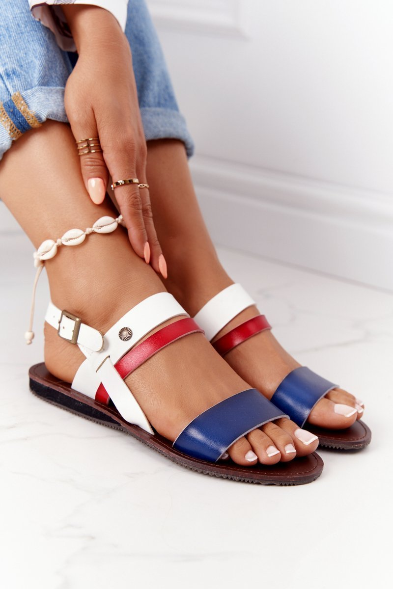 Flat Women's Sandals Navy-White Doris