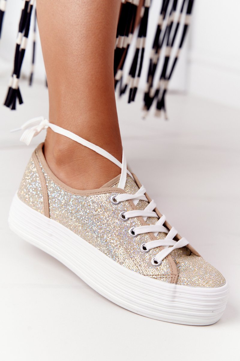 Glitter Sneakers On A Platform Gold Luna