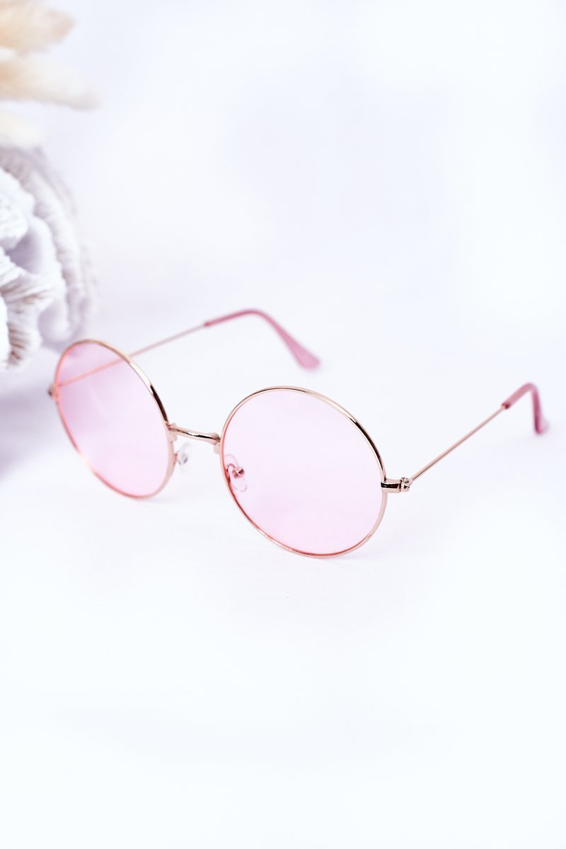 Gold Lennon Sunglasses With Pink Lenses