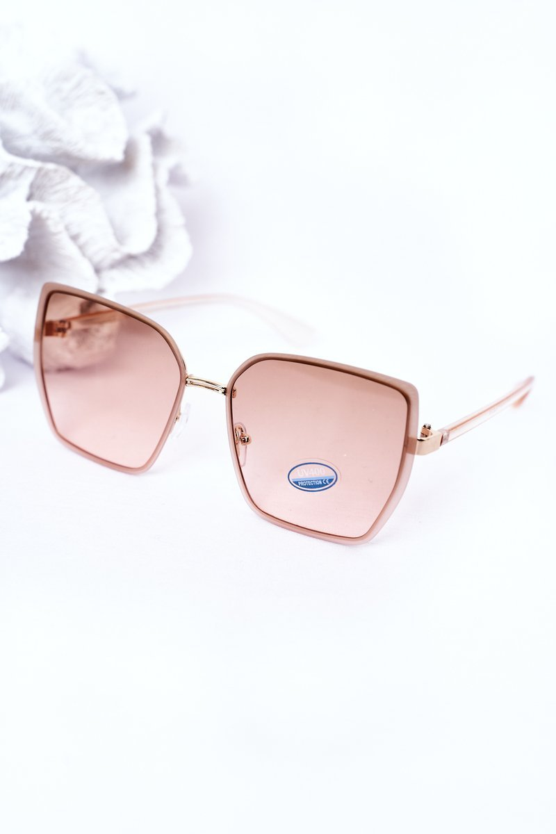 Gold Square Sunglasses Beige-Pink Ombre