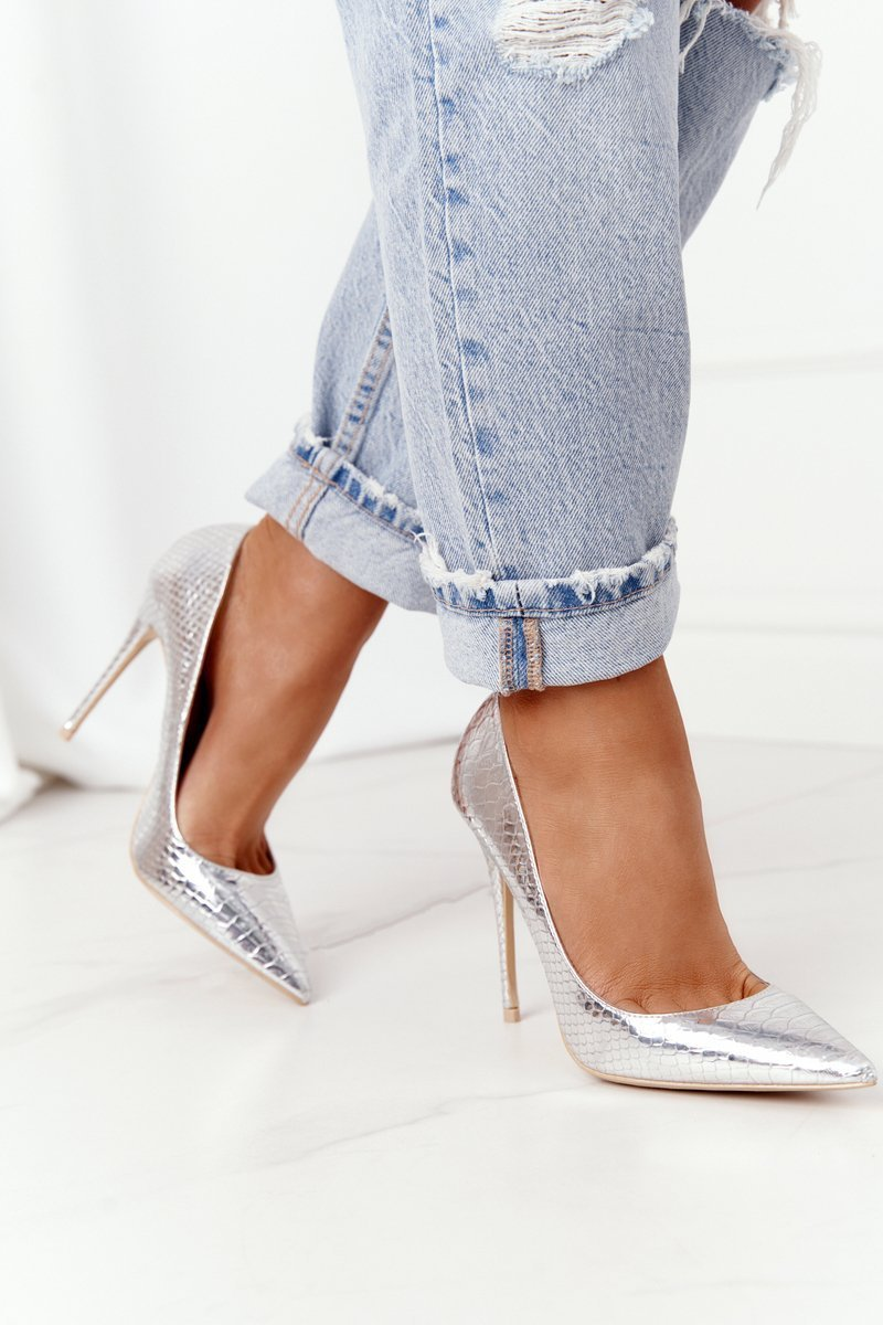 High Heels With A Snake Pattern Lu Boo Silver