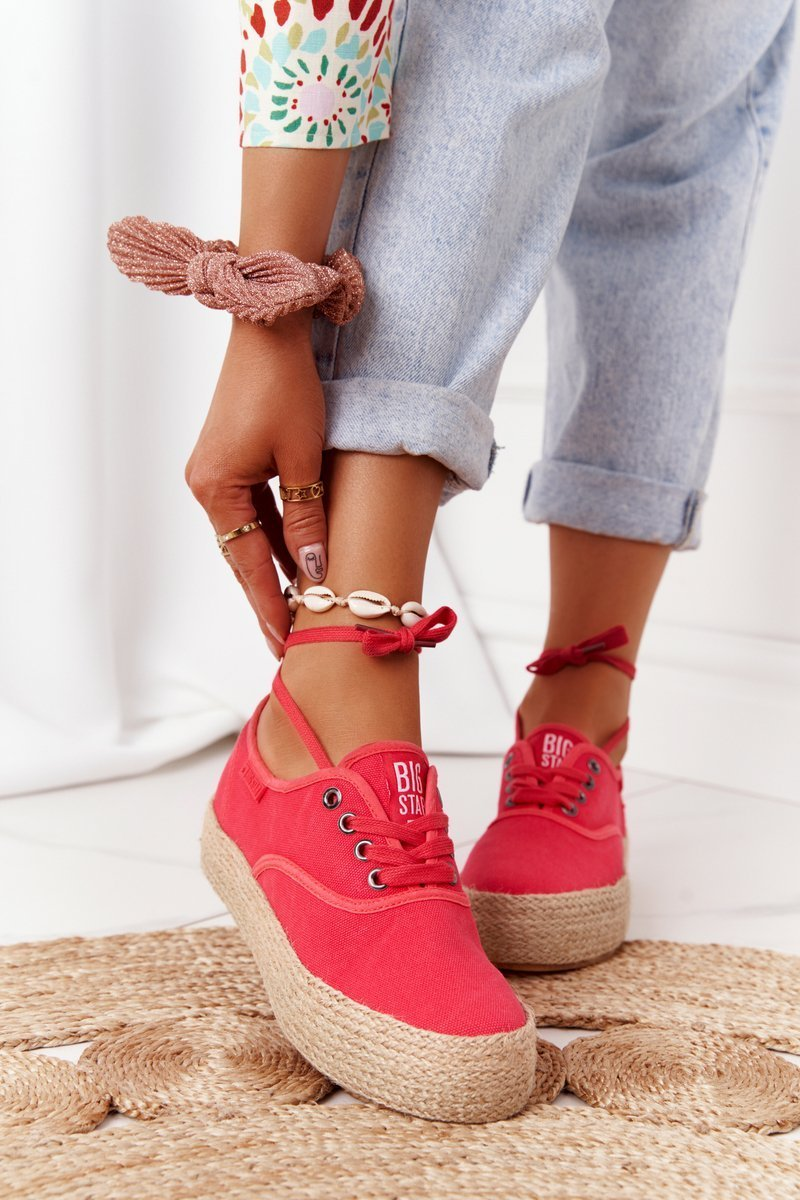 Lace-up Espadrilles On A Braided Platform Big Star FF274141 Red
