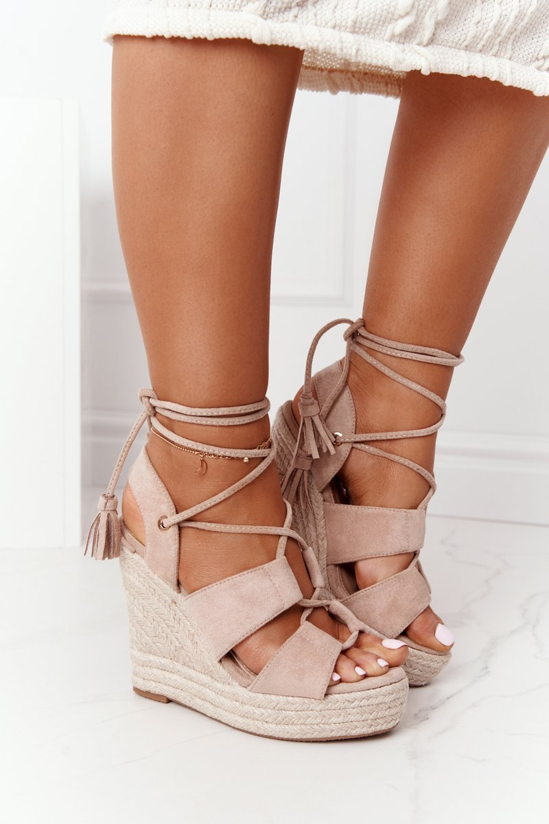 Lace-up Wedge Sandals With Braids Beige Mallorca