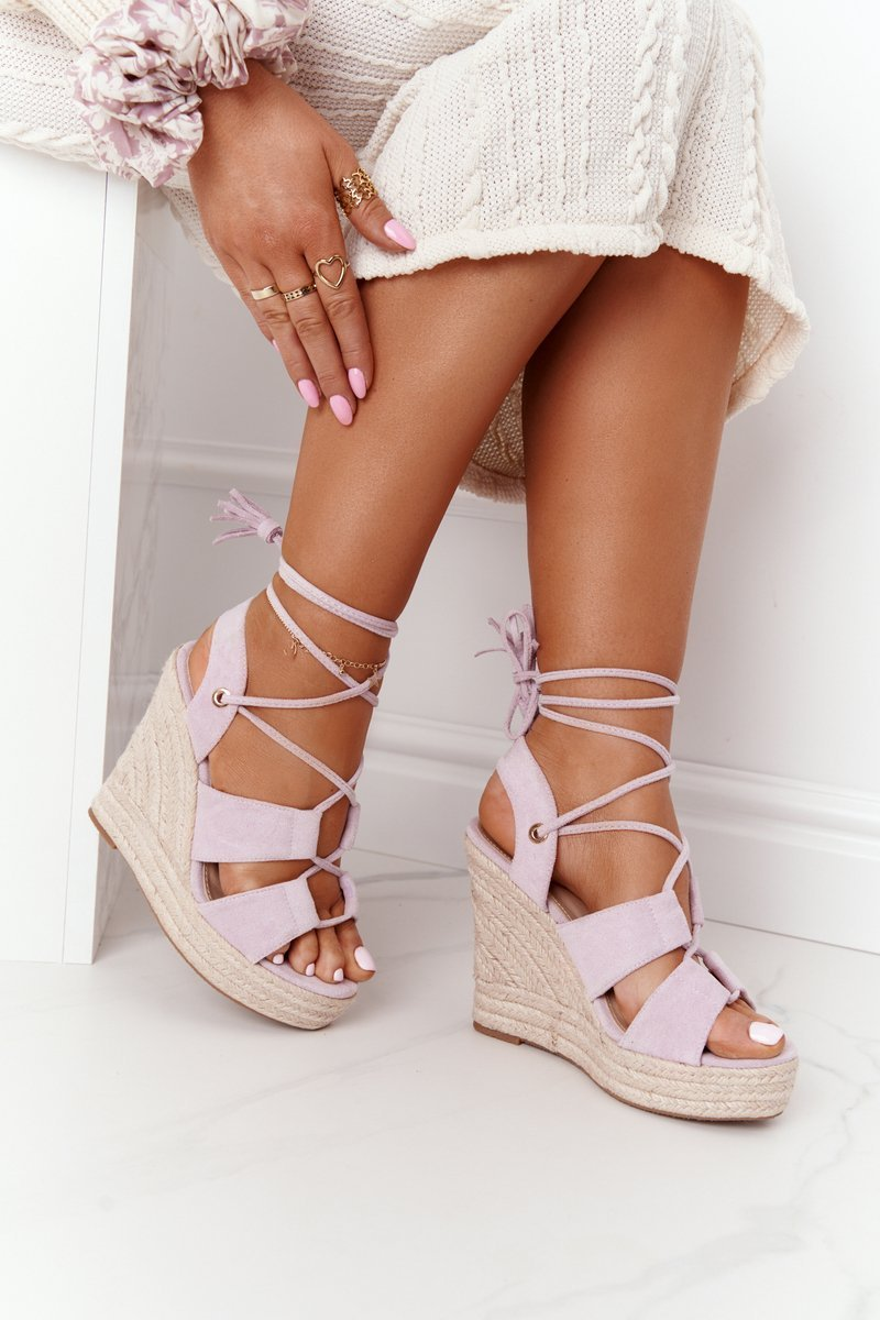 Lace-up Wedge Sandals With Braids Purple Mallorca