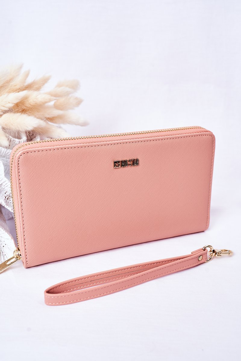 Large Leather Wallet Big Star HH674002 Pink
