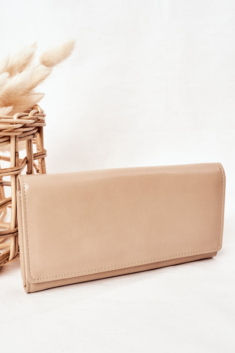 Large Women's Wallet With A Magnet Beige