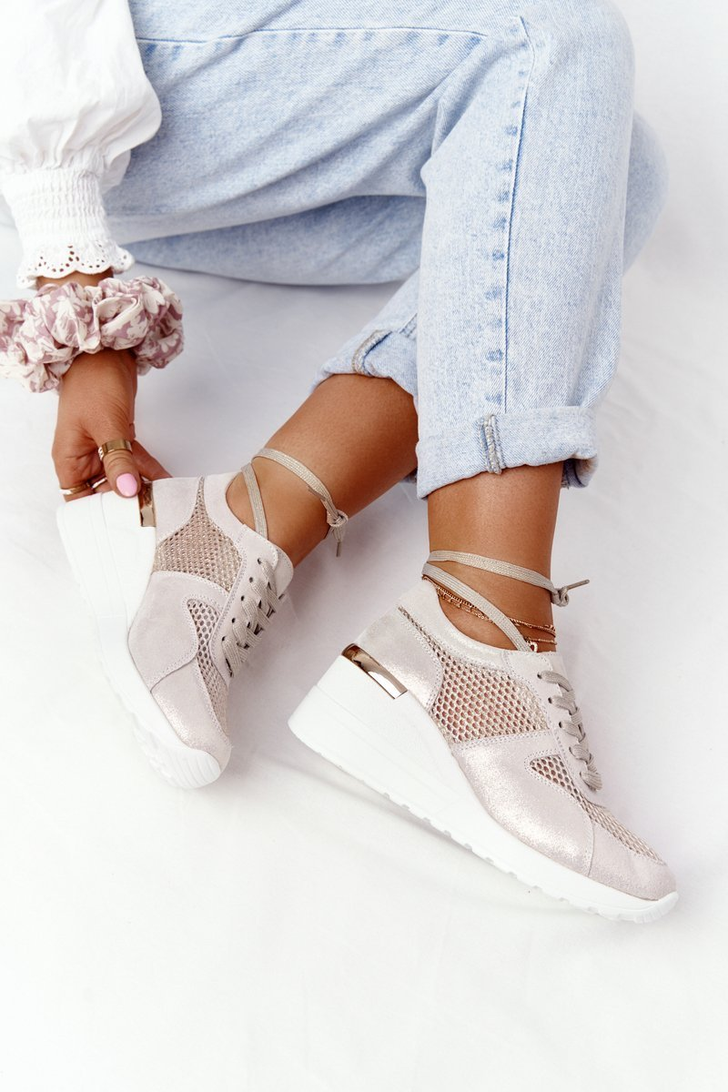 Leather Mesh Wedge Sneakers S.Barski Gold