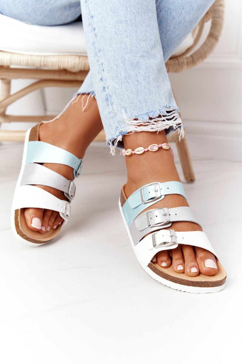 Leather Profiled Slippers Big Star HH274587 Turquoise-Silver