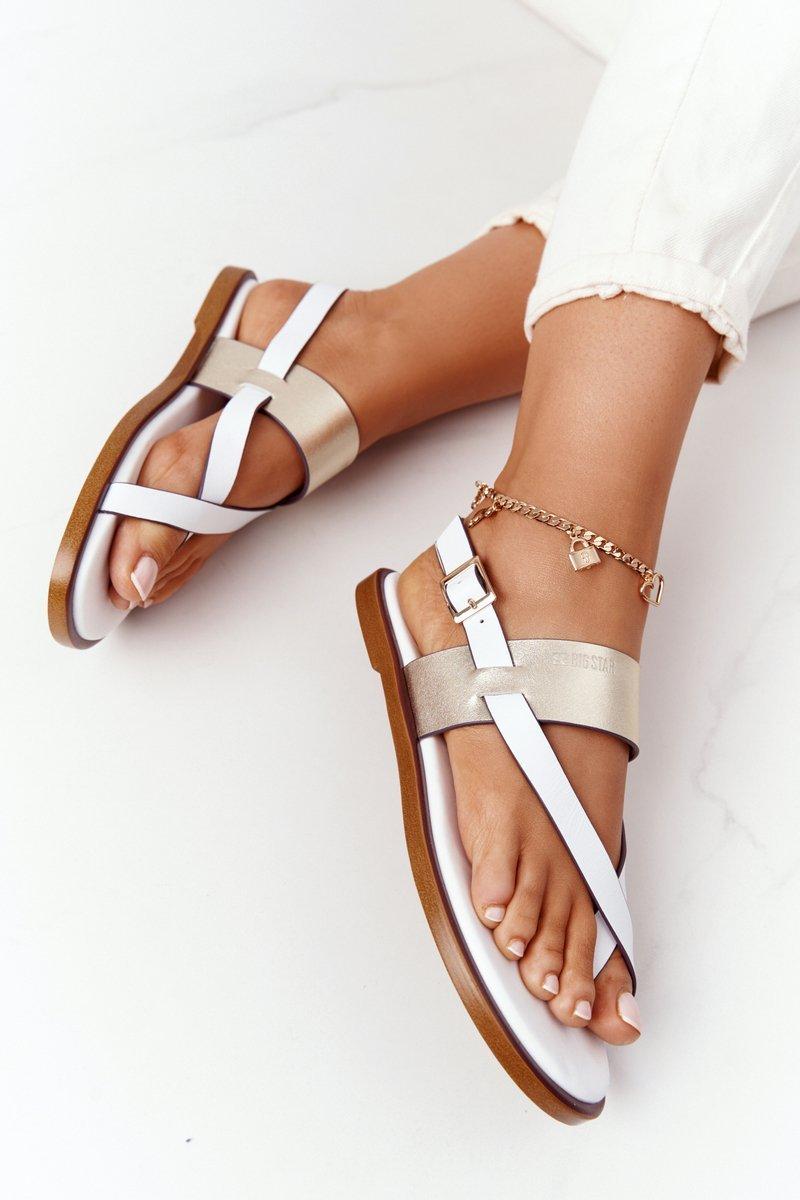 Leather Sandals Flip-flops Big Star HH274714 White-Gold