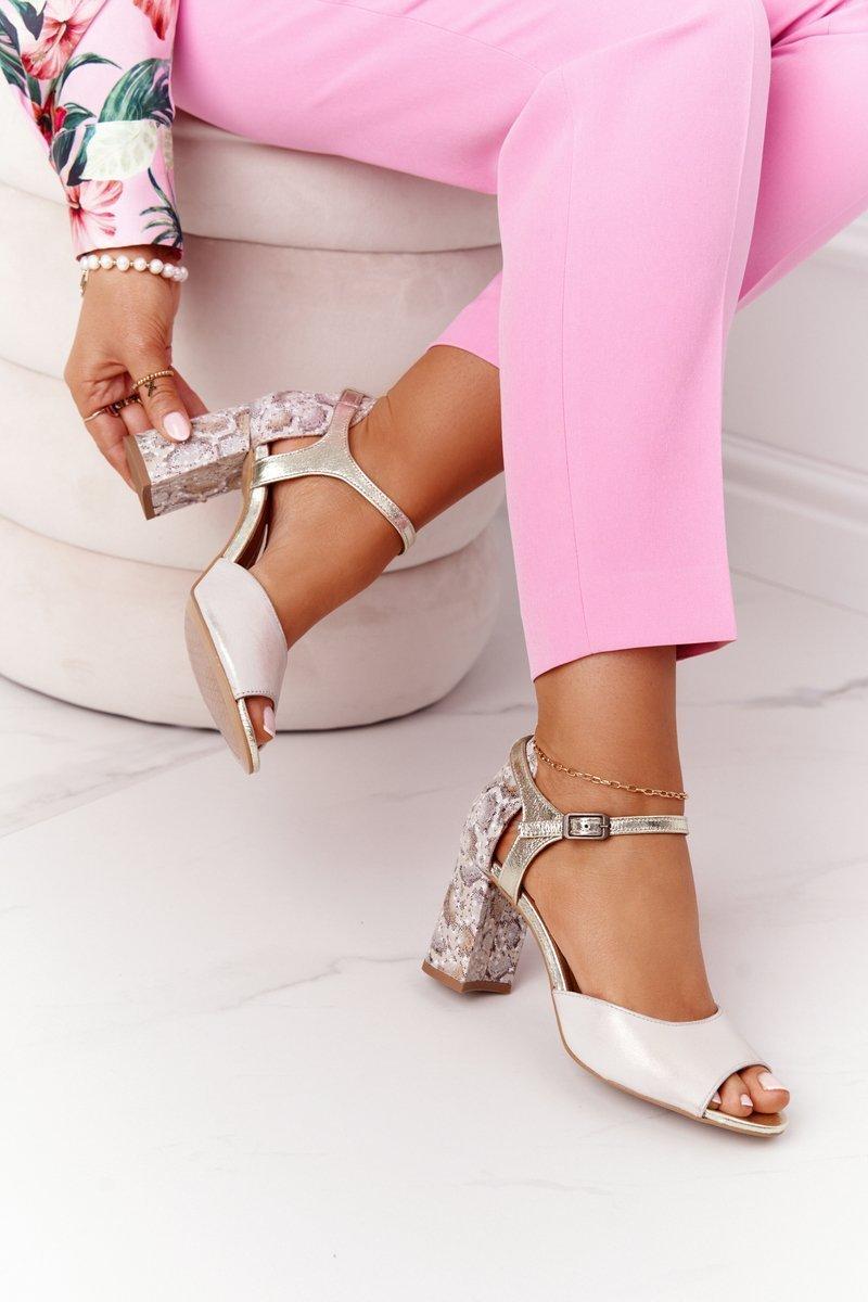 Leather Sandals On A Block Heel Maciejka 04956-25 Golden