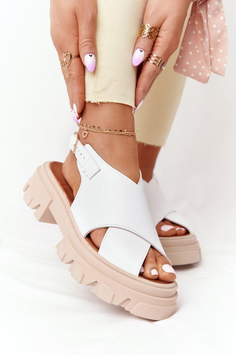 Leather Sandals On The Platform Lewski Shoes 3018-0 White